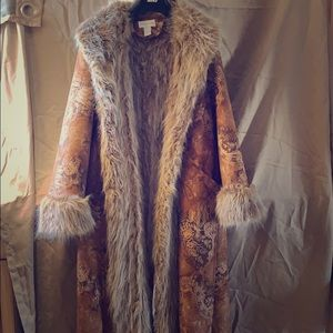 Newport News Long Faux Fur Paisley Coat Size 18